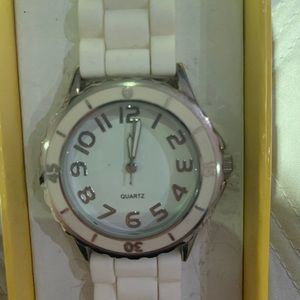 Macy's Watch with White Band and Silver Face